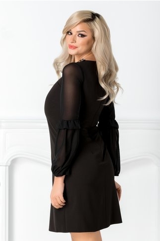 Rochie Moze neagra cu aplicatie eleganta la guler si maneci din voal