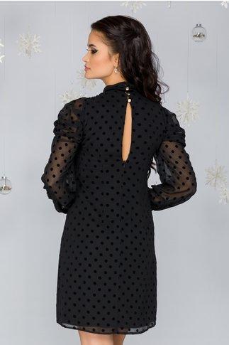 Rochie Moze neagra cu buline catifelate