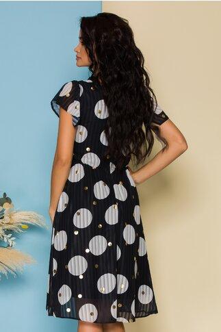 Rochie Moze neagra cu design in dungi si buline