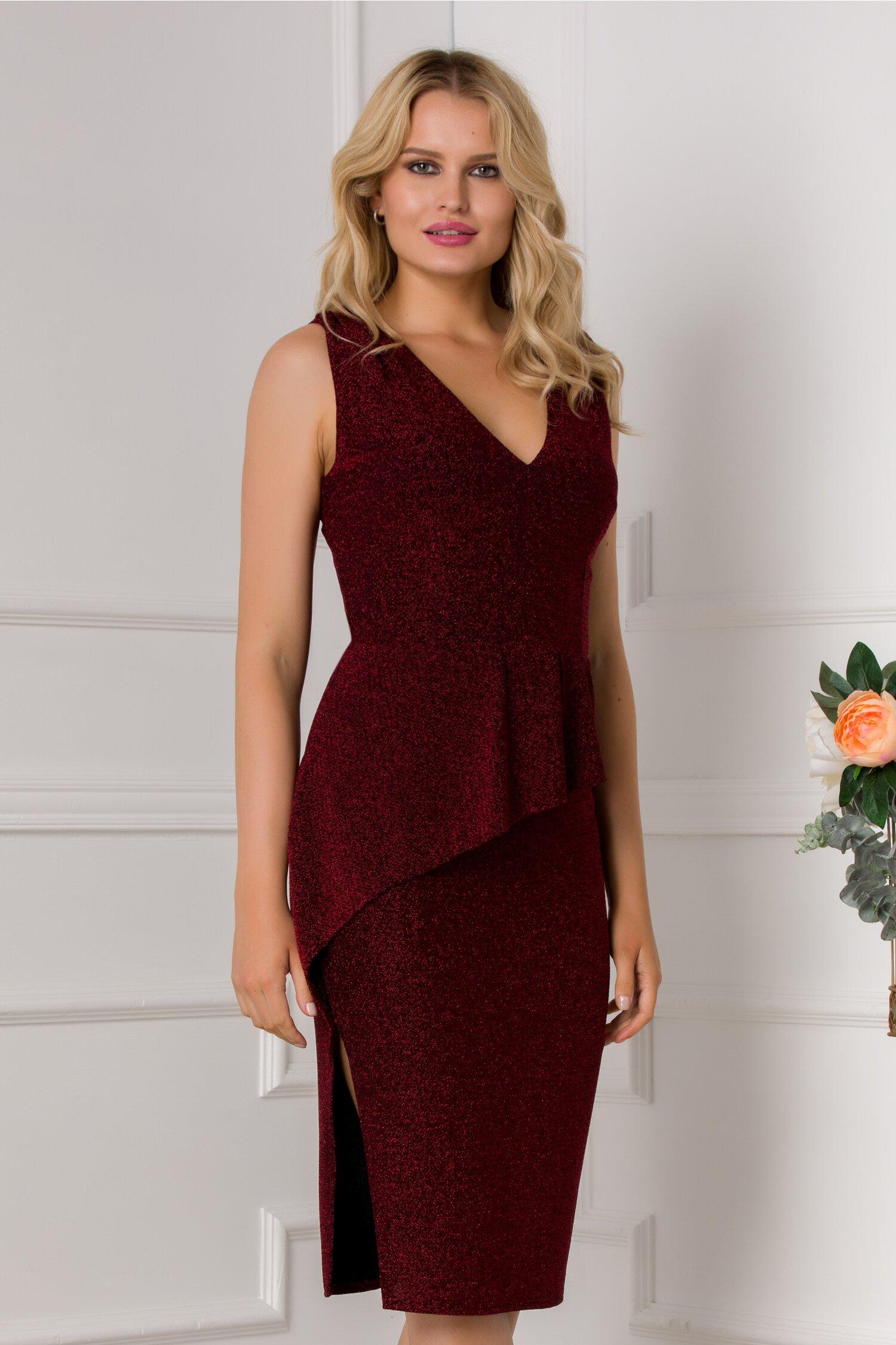 rochie moze neagra cu fir lurex rosu si peplum in talie 535119 4