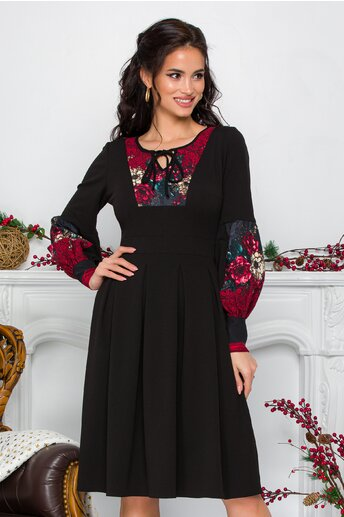 Rochie Moze neagra cu flori bordo la bust si maneci