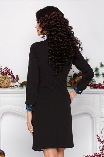 Rochie Moze neagra cu imprimeu albastru