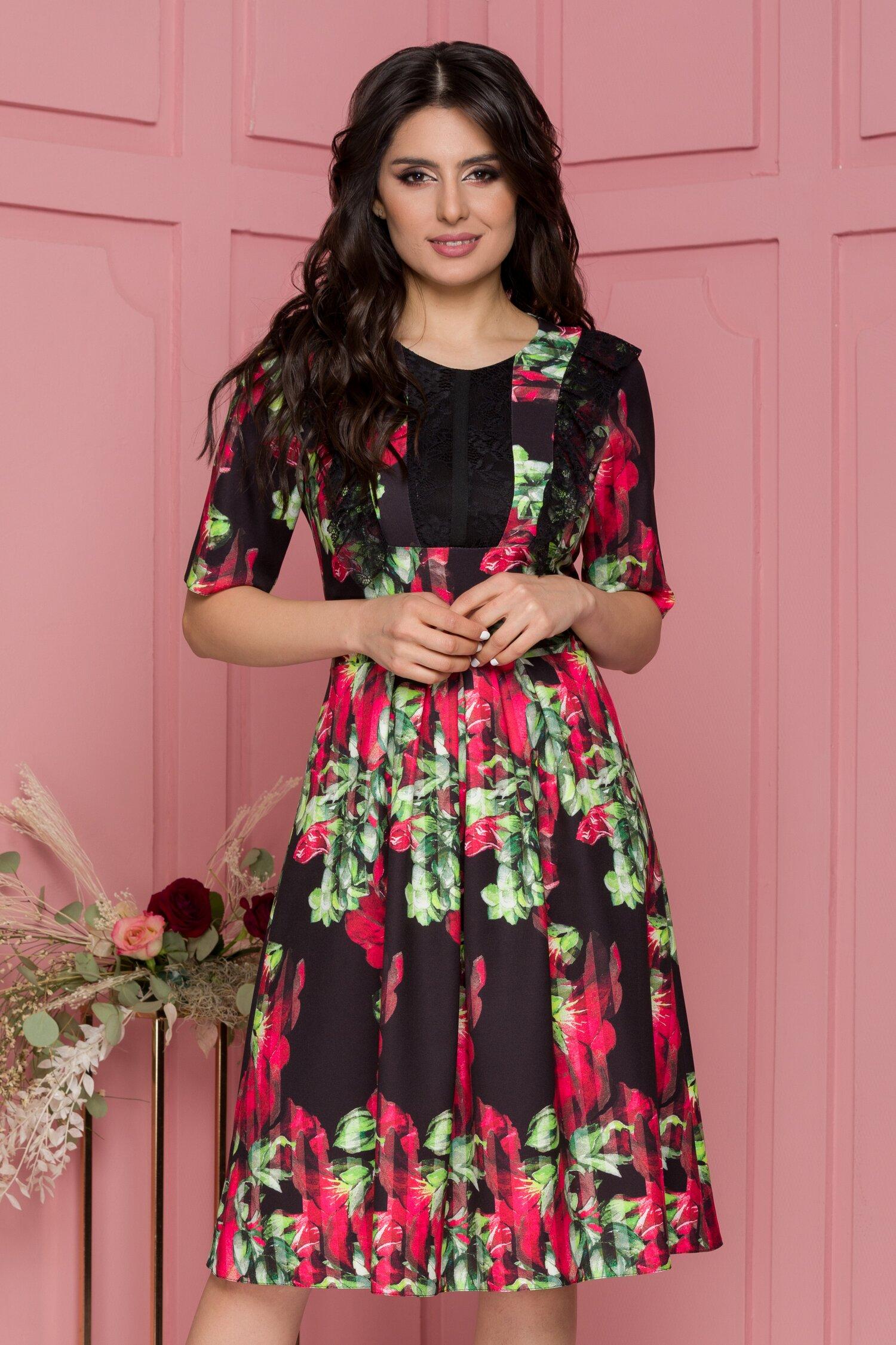 Rochie Moze neagra cu imprimeu floral rosu