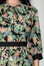 Rochie Moze neagra cu imprimeu floral si crapatura intr-o parte