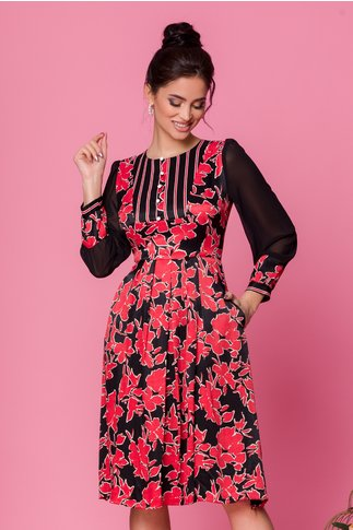 Rochie Moze neagra cu imprimeuri florale rosii
