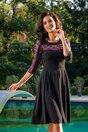 Rochie Moze neagra cu insertie din plasa cu motive traditionale