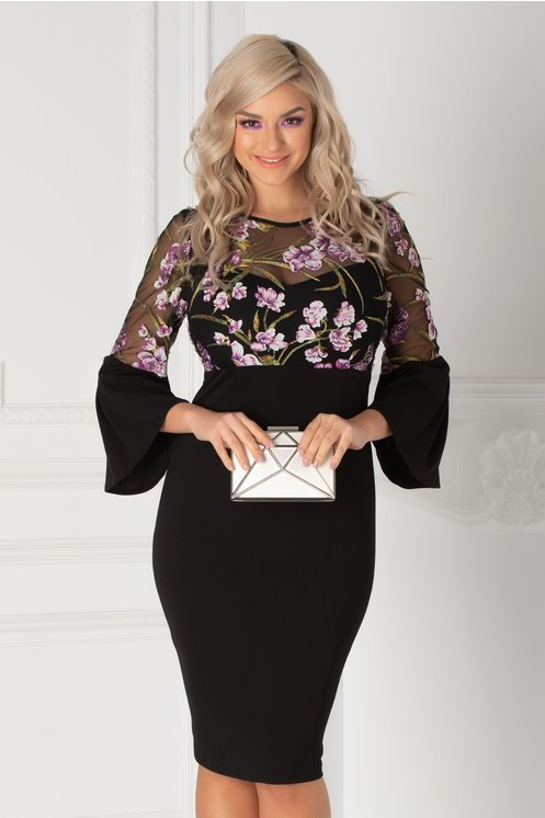 Rochie Moze neagra cu insertii florale mov la bust