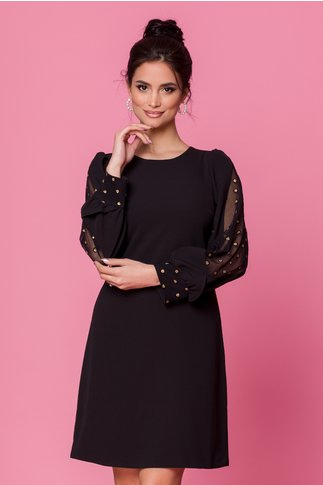 Rochie Moze neagra cu maneci accesorizate cu buliune aurii din sclipici