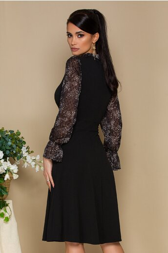 Rochie Moze neagra cu maneci lungi din voal si imprimeu floral