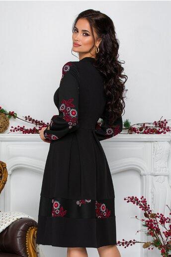 Rochie Moze neagra cu pliuri si broderie florala bordo