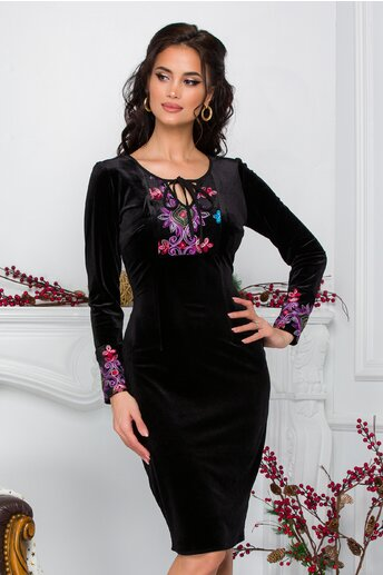 Rochie Moze neagra din catifea cu broderie florala lila