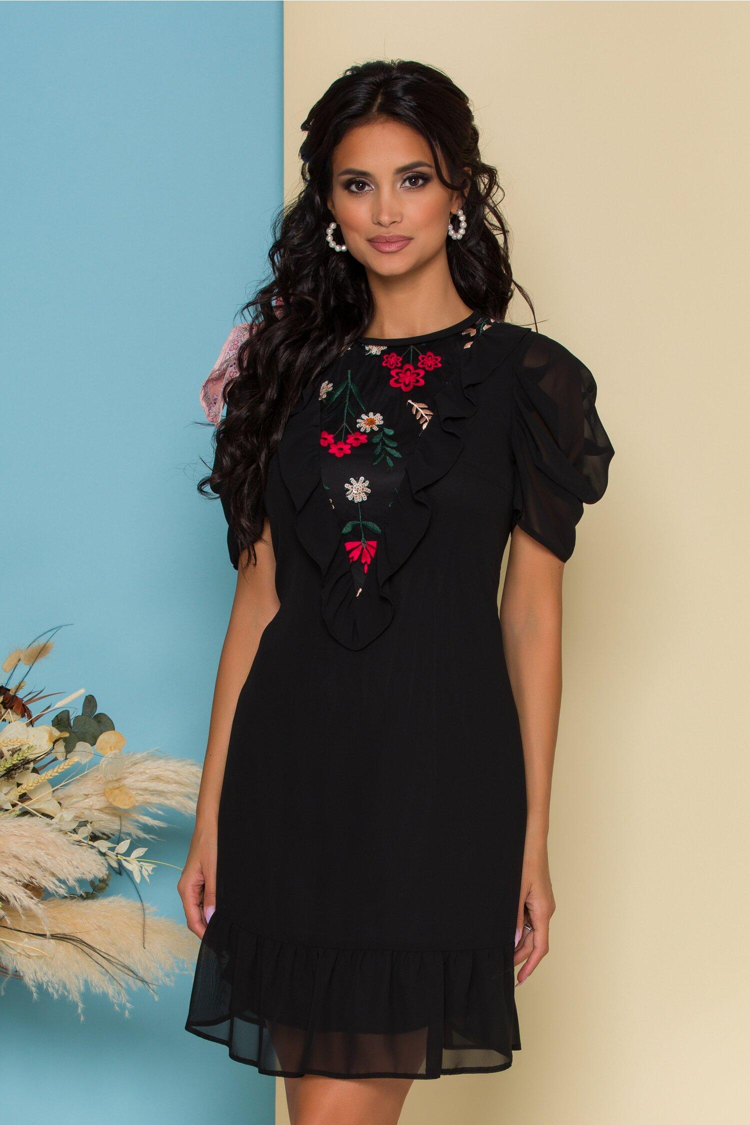 Rochie Moze neagra din voal cu broderie florala la bust