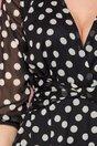 Rochie Moze neagra din voal cu buline si funda in talie