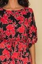Rochie Moze neagra lejera cu imprimeuri florale rosii