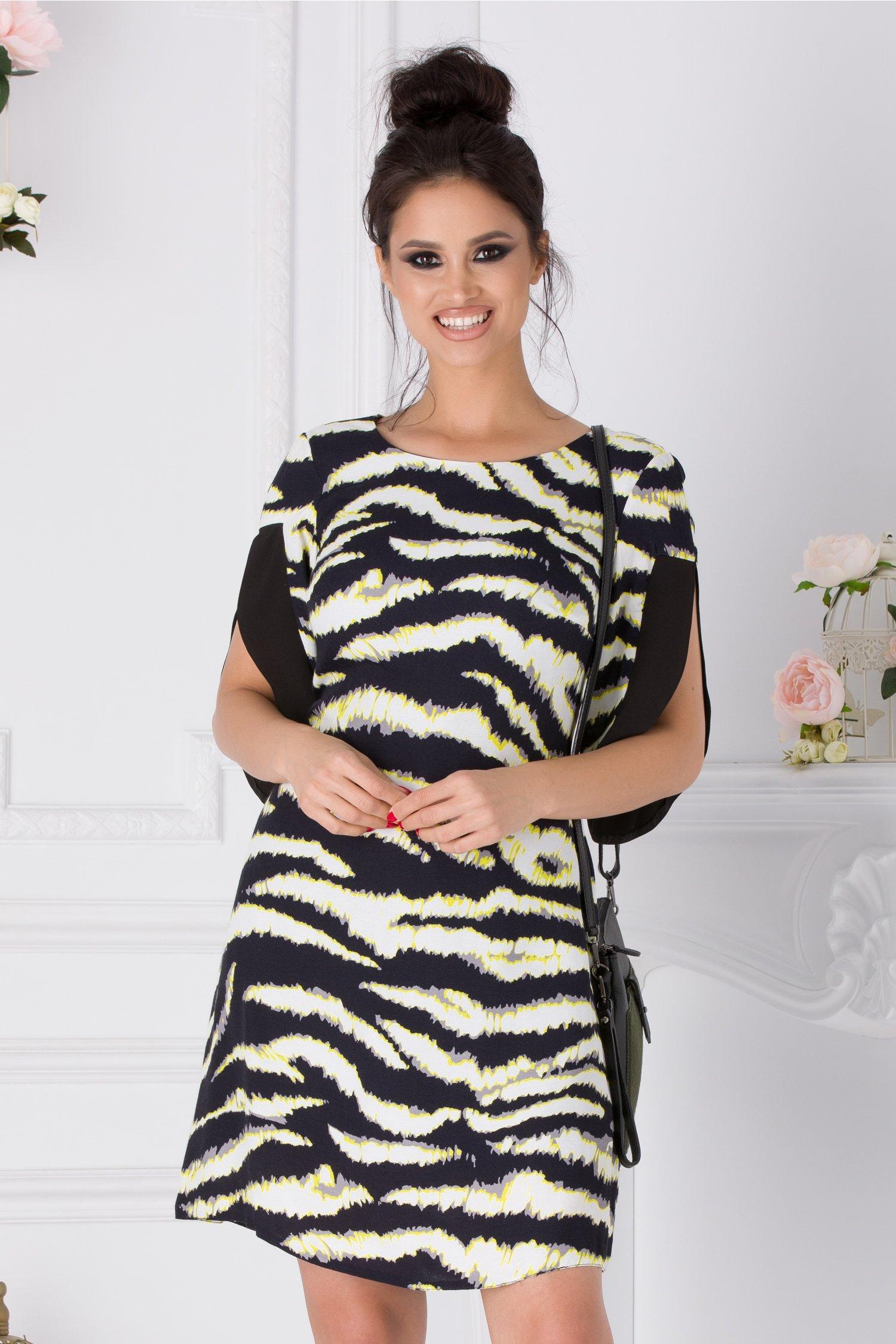 Rochie Moze neagra tip clopot cu imprimeu zebra