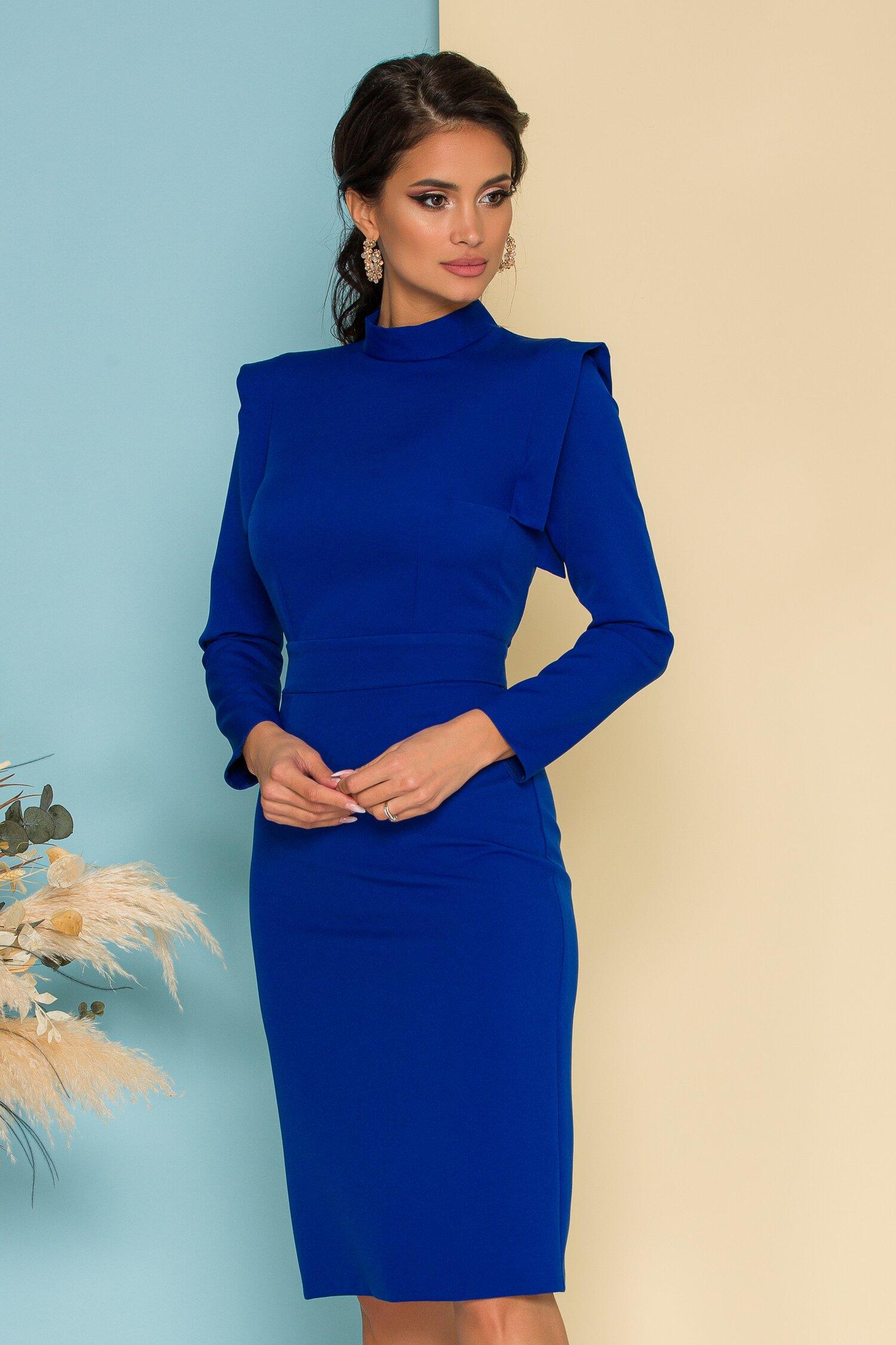Rochie Moze office conica albastru royal