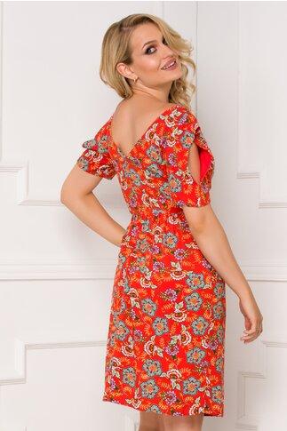 Rochie Moze orange cu imprimeuri florale si maneci decupate