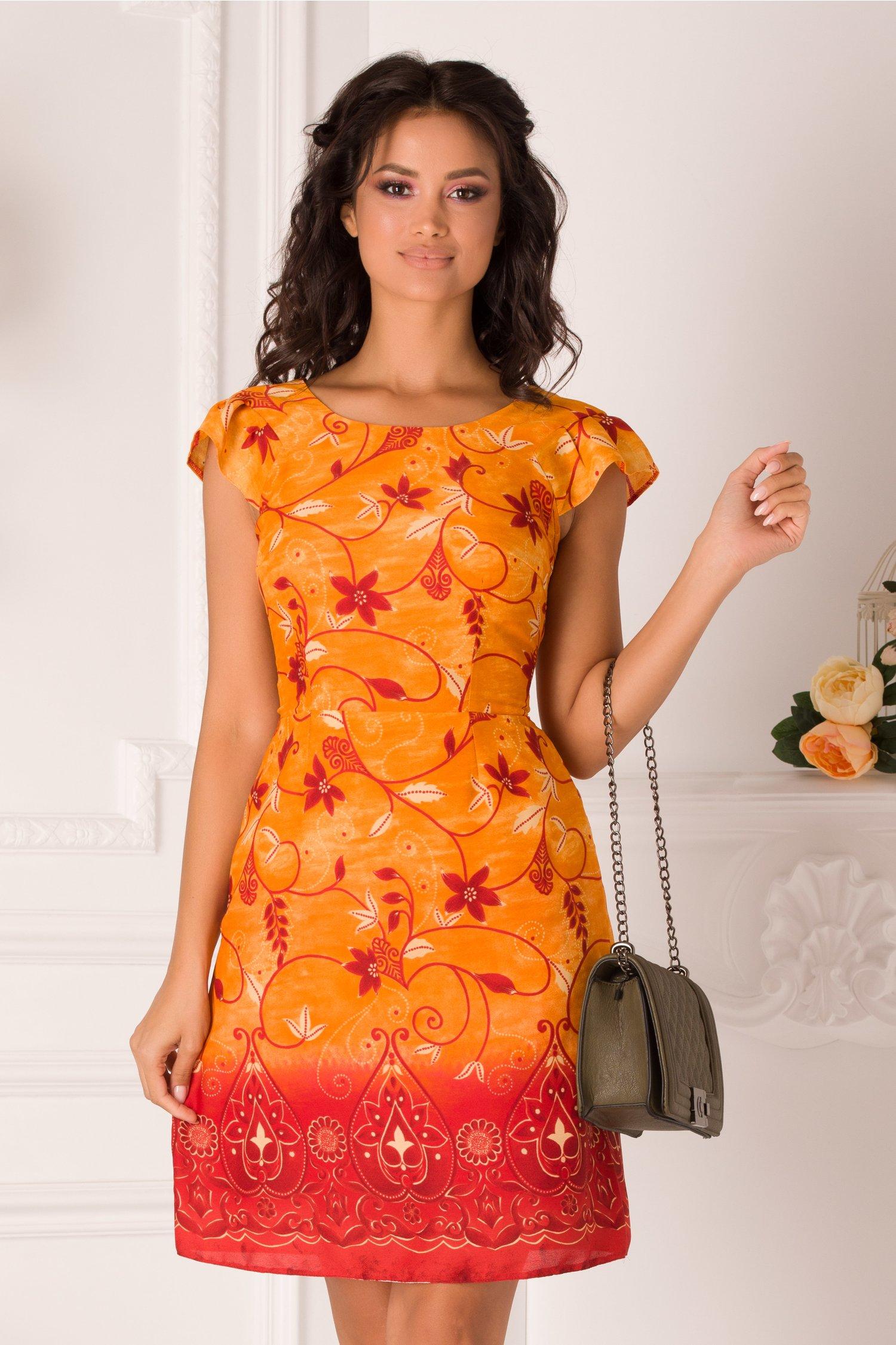 Rochie Moze orange evazata cu imprimeu floral