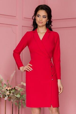 Rochie Moze rosie cu design petrecut si rever tip esarfa si nasturi pe fusta