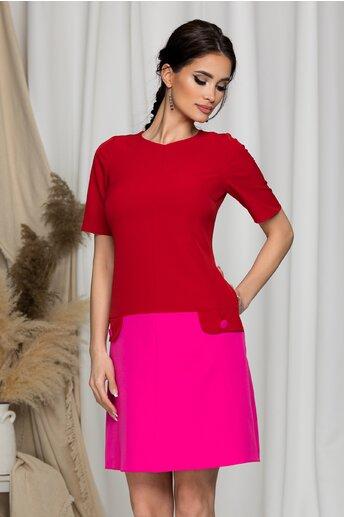 Rochie Moze rosie cu fusta roz si aplicatii tip buzunare