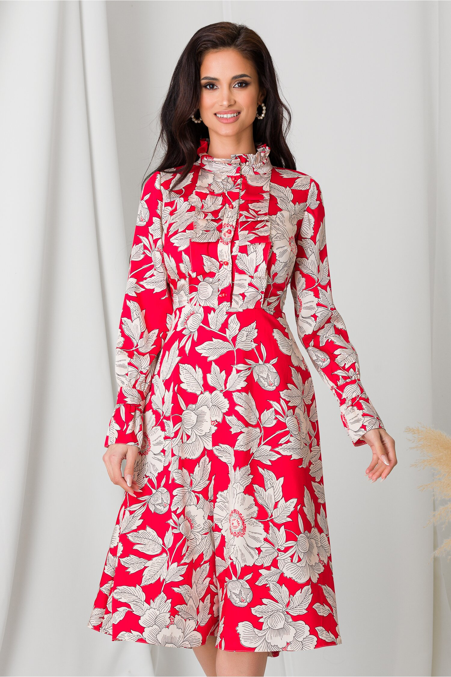 Rochie Moze rosie cu imprimeu floral
