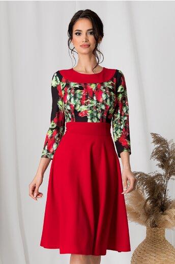 Rochie Moze rosie cu imprimeu floral la bust
