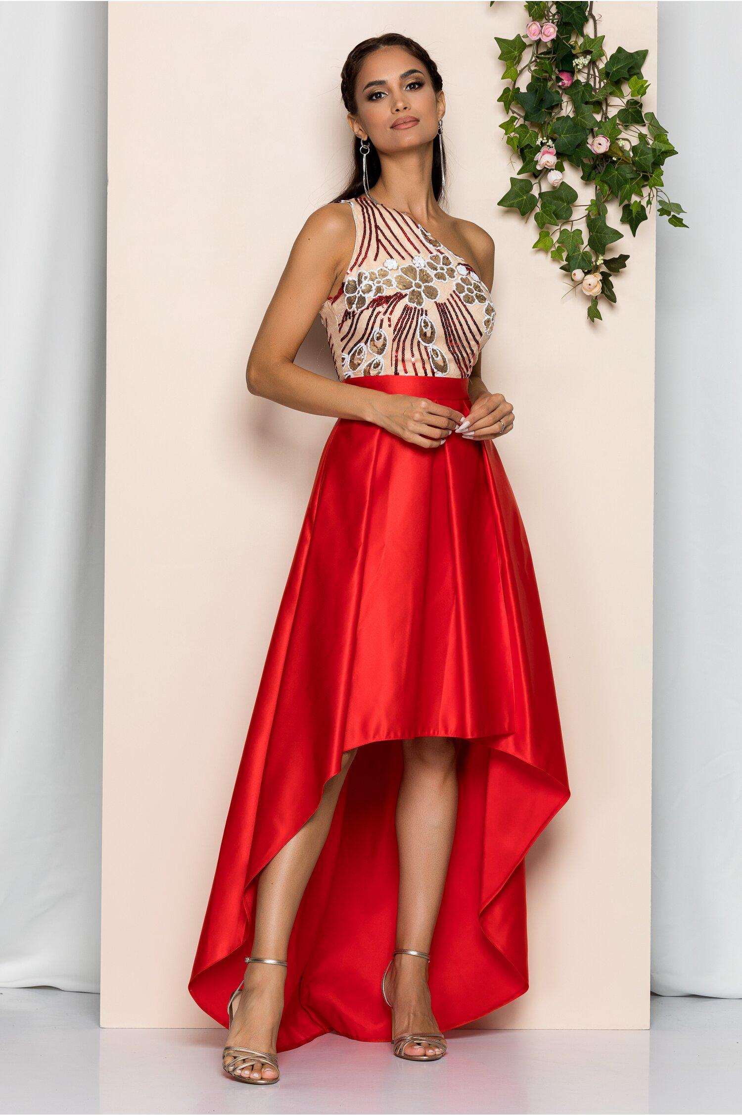 Rochie Moze rosie cu lungime asimetrica si paiete la bust