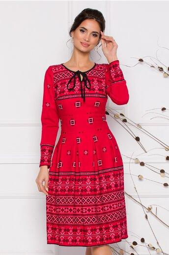 Rochie Moze rosie cu motive traditionale romanesti