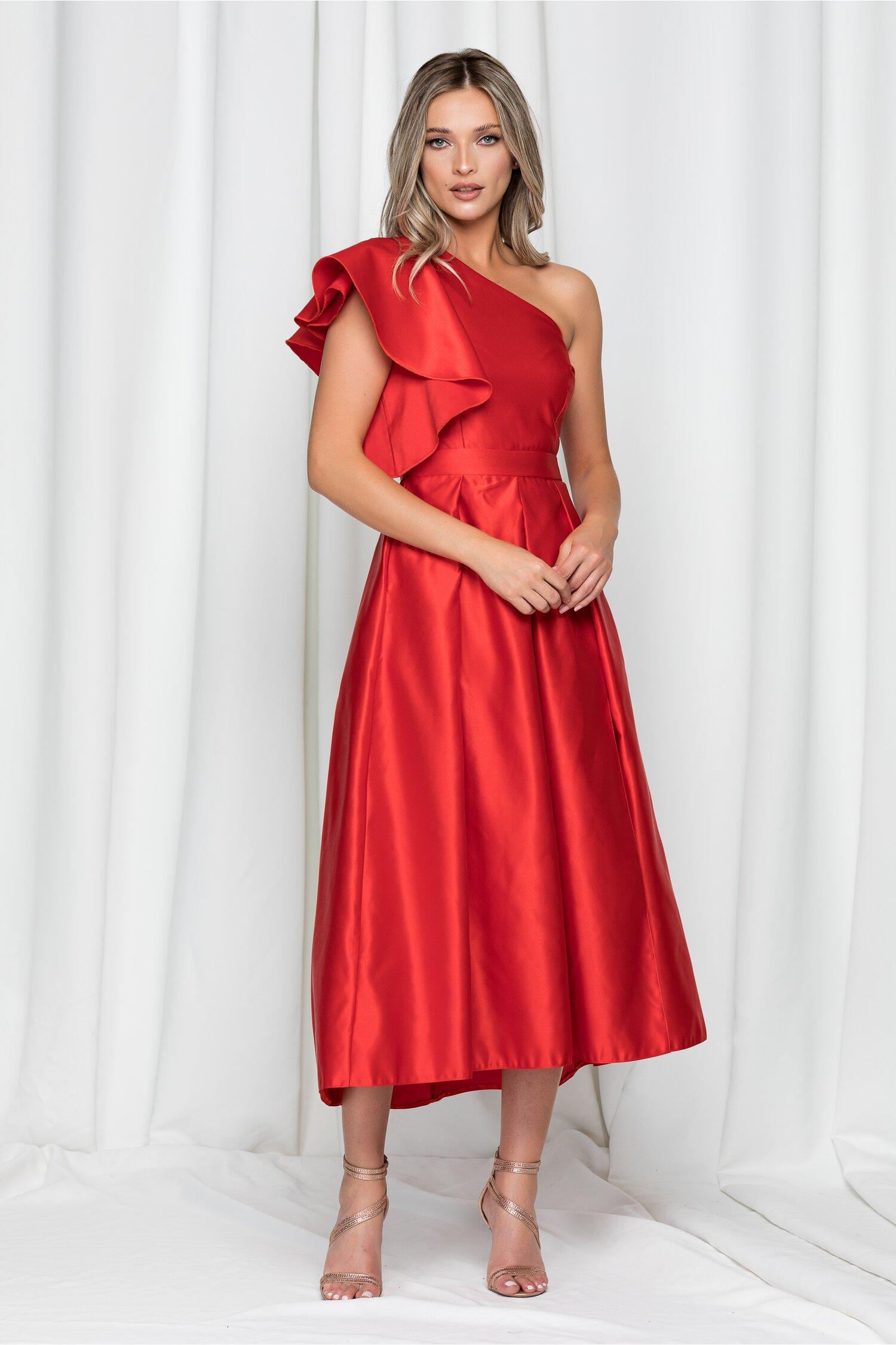 Rochie Moze rosie cu pliuri mari pe fusta si un umar gol