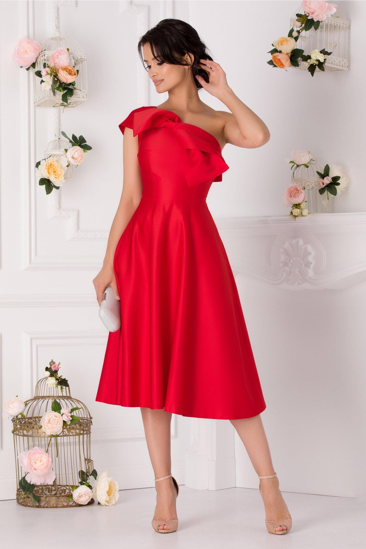 Rochie Moze rosie cu un umar si funda