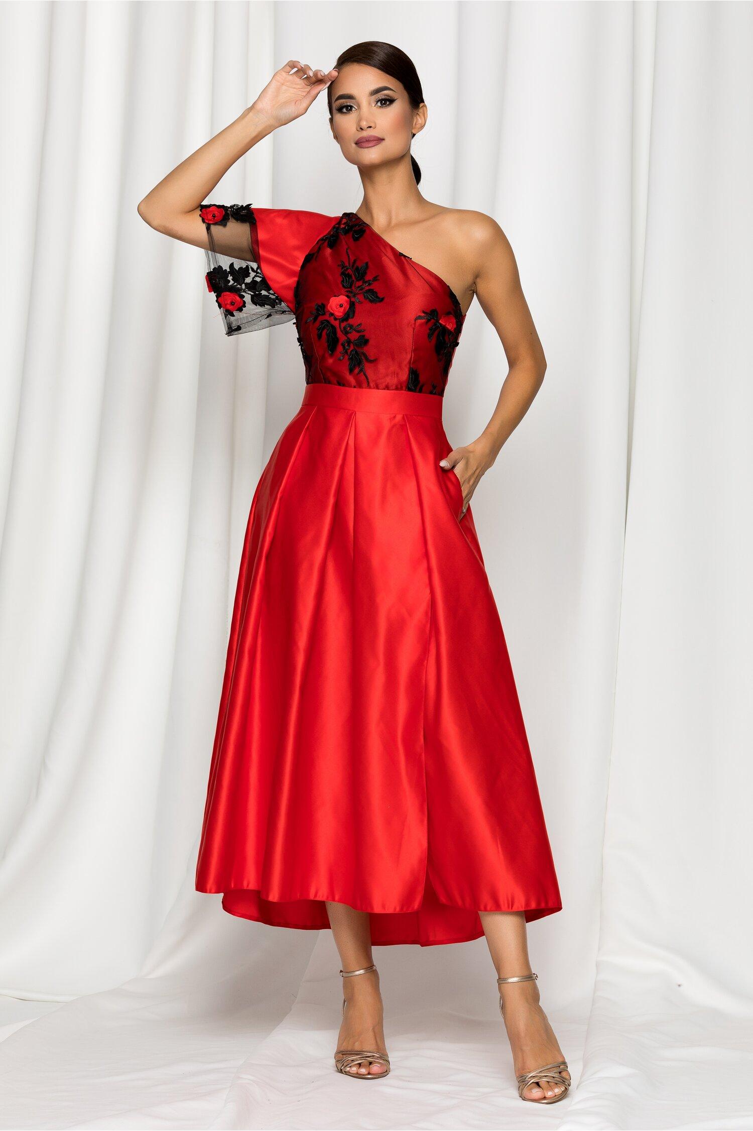 Rochie Moze rosie din tafta cu broderie florala paietata la bust