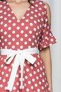 Rochie Moze roz coniac cu buline albe si decupaj la maneci