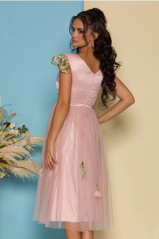 Rochie Moze roz cu fusta din tull accesorizata cu broderie florala
