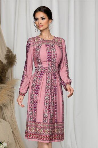 Rochie Moze roz cu imprimeuri florare tip traditional