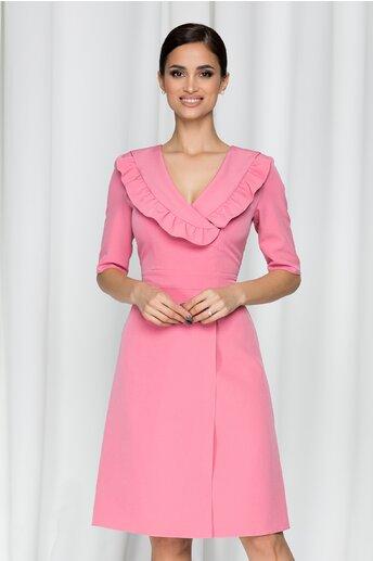 Rochie Moze roz cu volanase la decolteu