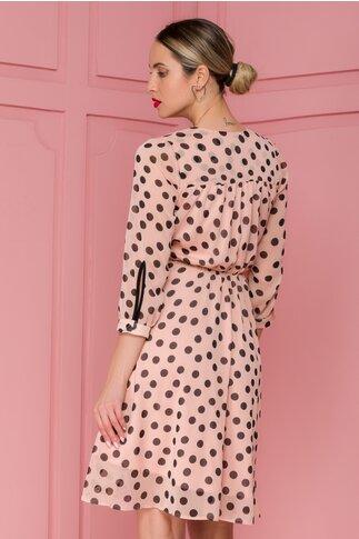 Rochie Moze roz din voal cu buline di funda in talie