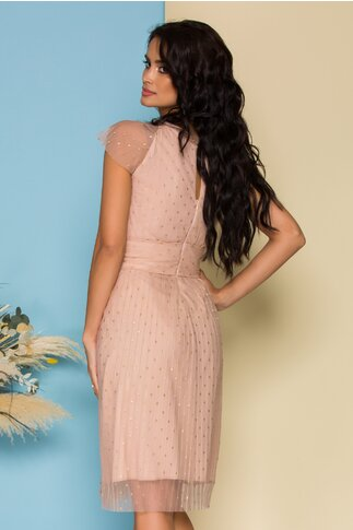 Rochie Moze roz pal din tull plisat si glitter auriu