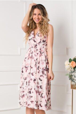 Rochie Moze roz petrecuta cu imprimeu floral