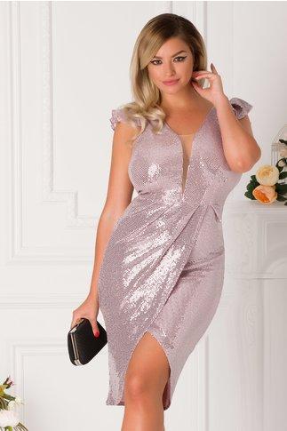 Rochie Moze roz petrecuta cu paiete argintii