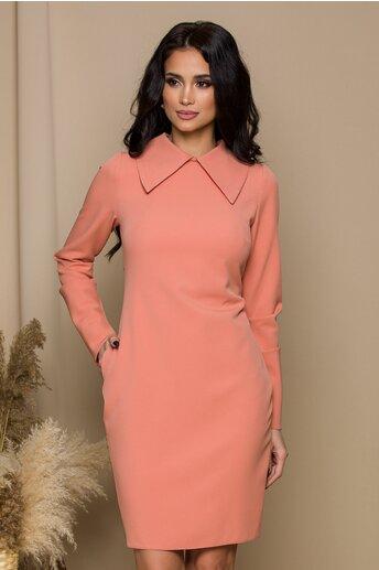 Rochie Moze roz piersica cu guler maxi ascutit