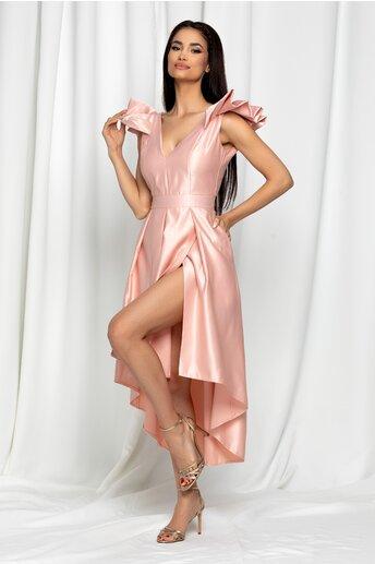 Rochie Moze roz piersica satinata cu pliuri pe fusta