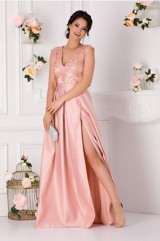 Rochie Moze roz prafuit cu broderie florala si paiete la bust
