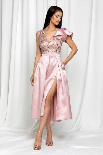 Rochie Moze roz pudrat cu volanas la un umar si pliuri pe fusta