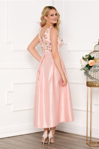 Rochie Moze roz pudrat din tafta cu broderie florala si paiete la bust