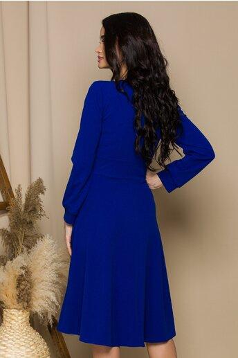 Rochie Moze Teresa albastra cu maneci lungi si aplicatii aurii pe bust