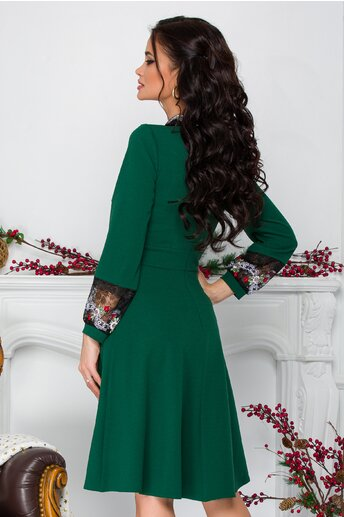 Rochie Moze verde cu broderie florala la guler si maneci