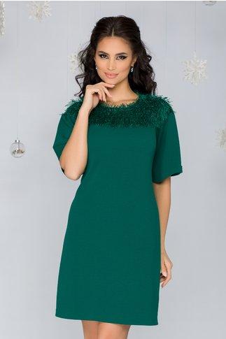 Rochie Moze verde cu franjuri si fir lurex stralucitor