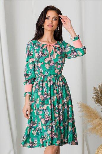 Rochie Moze verde cu imprimeu floral