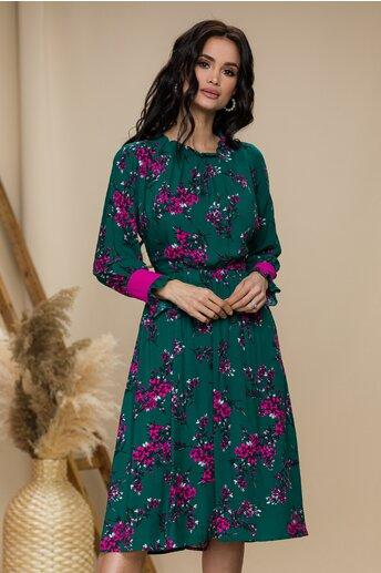 Rochie Moze verde cu imprimeu floral fucsia