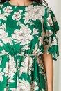 Rochie Moze verde cu imprimeuri florale bej